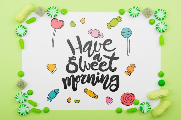 Have a sweet morning with delicious candy frame Free Psd
