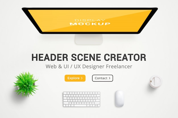 Header scene creator. web designer desk. top view, flat lay composition. full layered Premium Psd