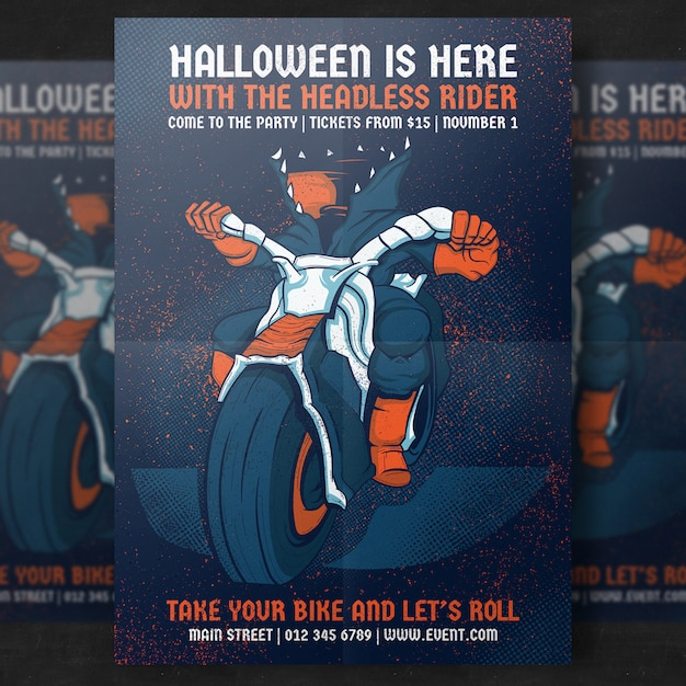 Headless rider halloween party flyer template Free Psd