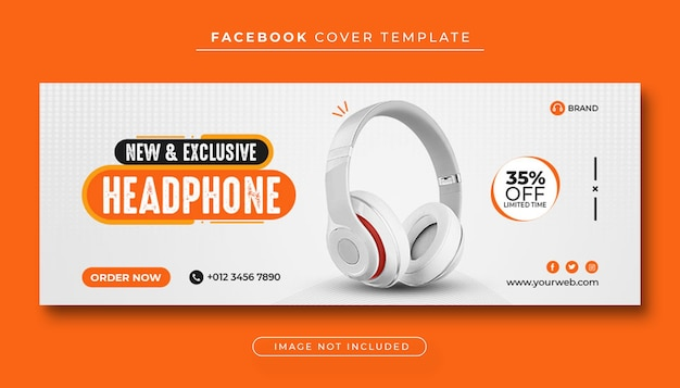 Headphone brand product sale facebook cover banner