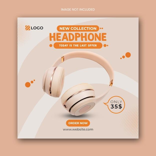 Headphone square social media post banner template Premium Psd