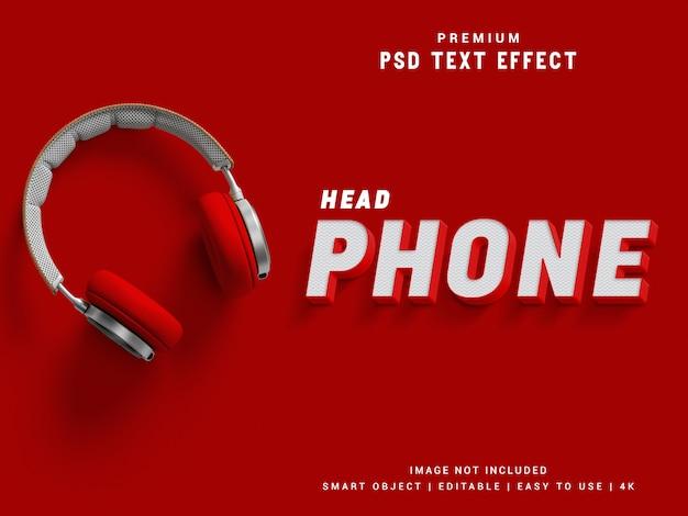 Текстовый эффект наушников Premium Psd
