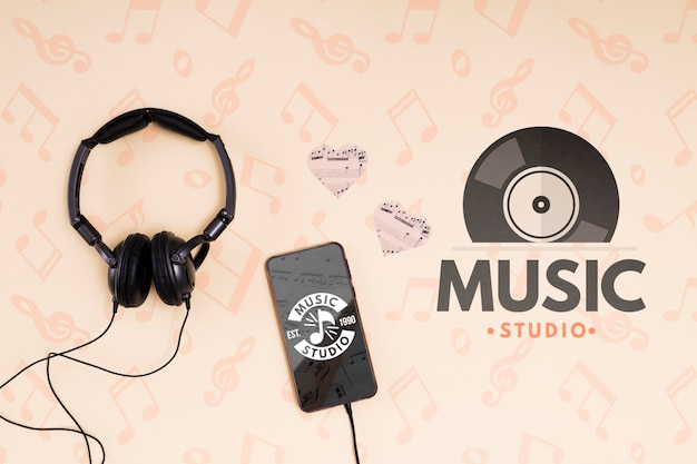 Headphones and mobile Free Psd