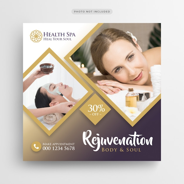Health Spa Beauty Salon Social Media Banner Or Square Flyer Template Premium Psd File