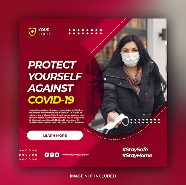 Healthcare banner with virus prevention theme Premium Psd