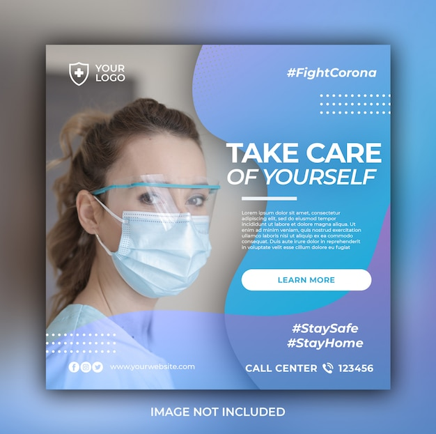 Здравоохранение баннер с темой защиты от вирусов Premium Psd