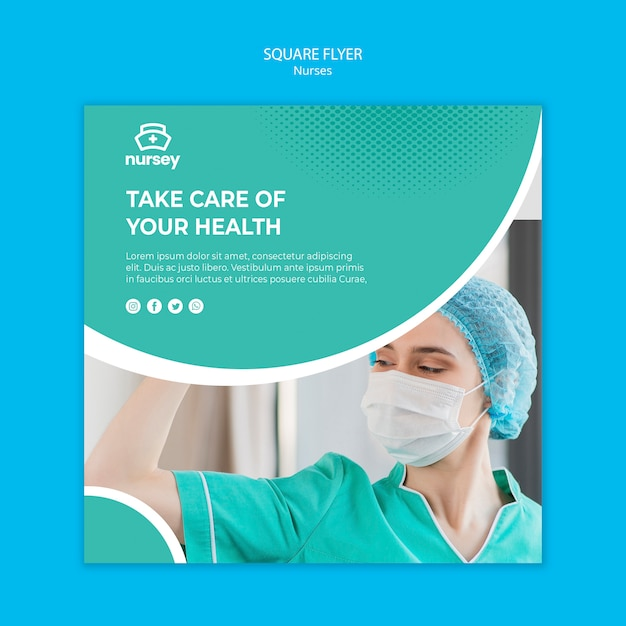 Healthcare concept square flyer style Free Psd