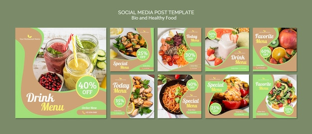 Healthy and bio food social media post Free Psd