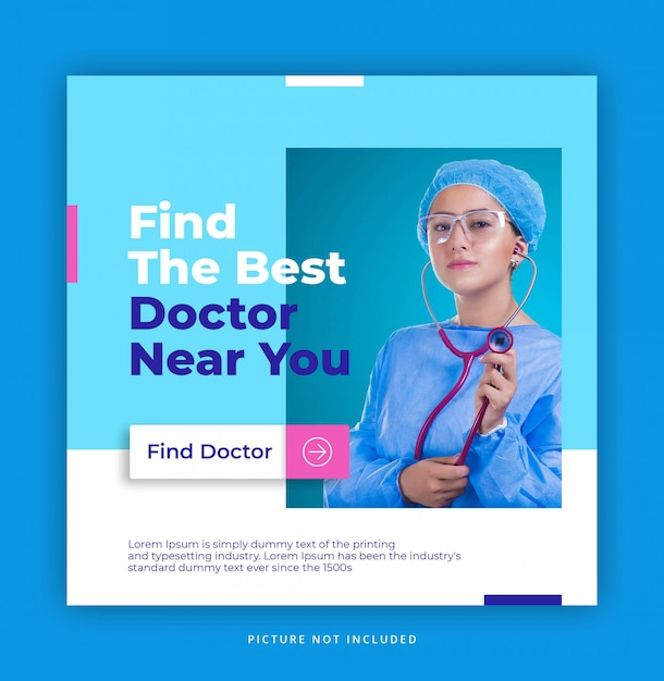Healthy doctor hospital instagram template Premium Psd