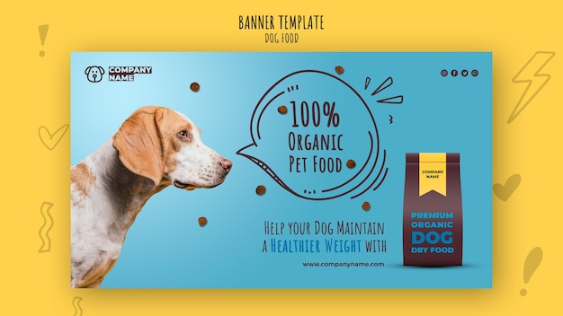 Healthy dog food banner template Free Psd