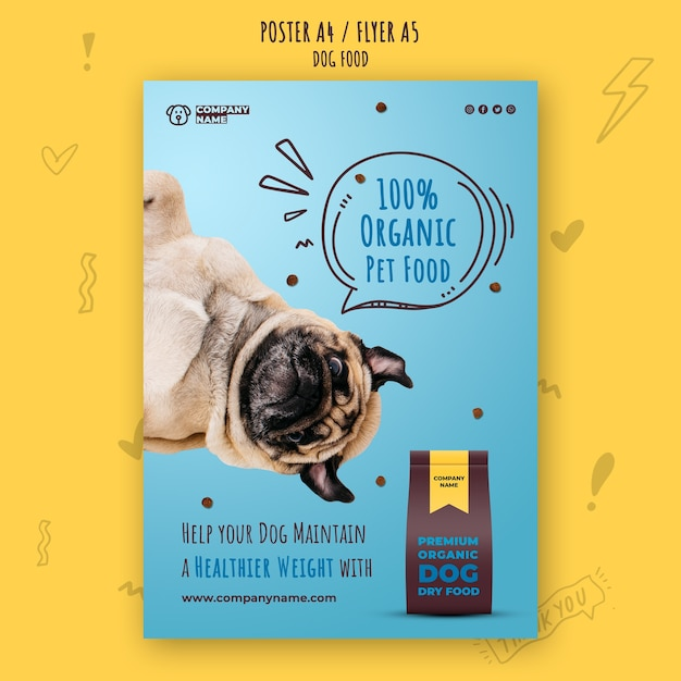 Healthy dog food poster template Free Psd