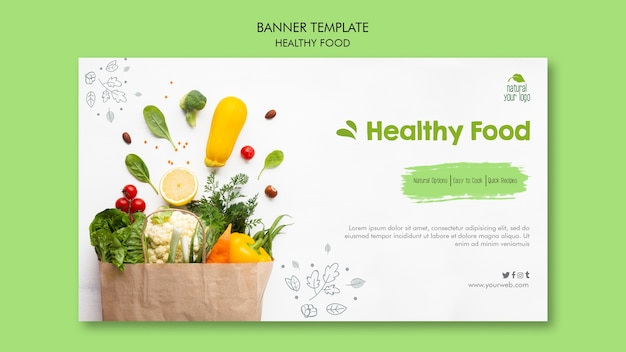 Healthy food banner template design Free Psd