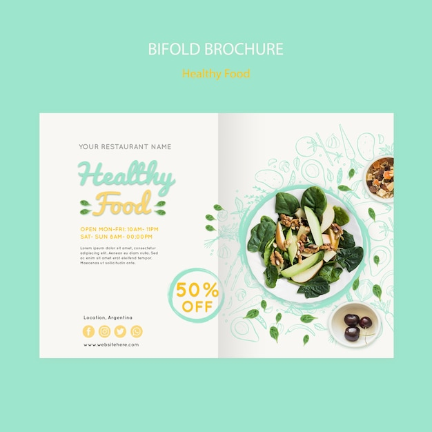 Healthy food bifold brochure Free Psd