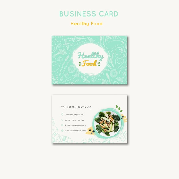 Healthy food business card template Free Psd