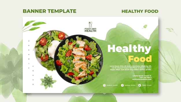 Healthy food concept banner template Free Psd