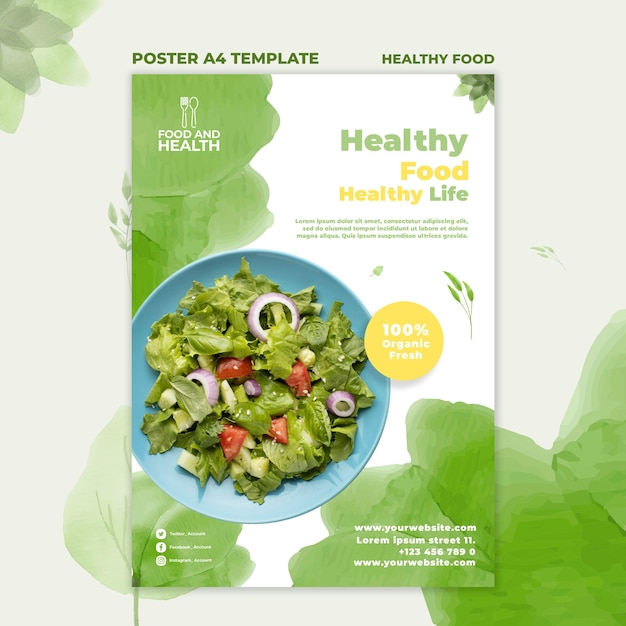 Healthy food concept poster template Free Psd