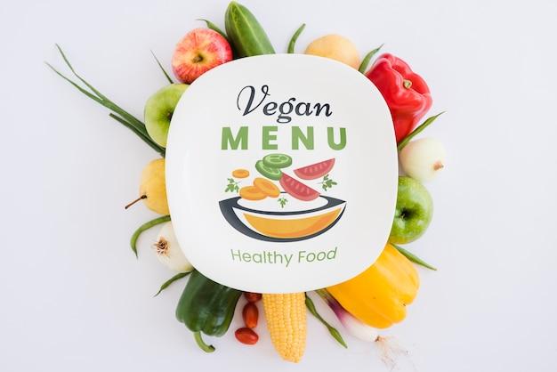 Menu vegano di cibo sano concetto Psd Gratuite