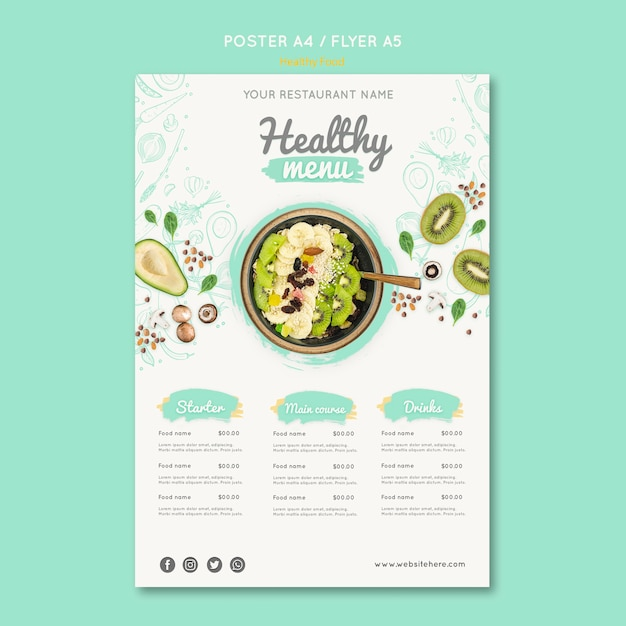 Healthy food flyer template with photo Free Psd