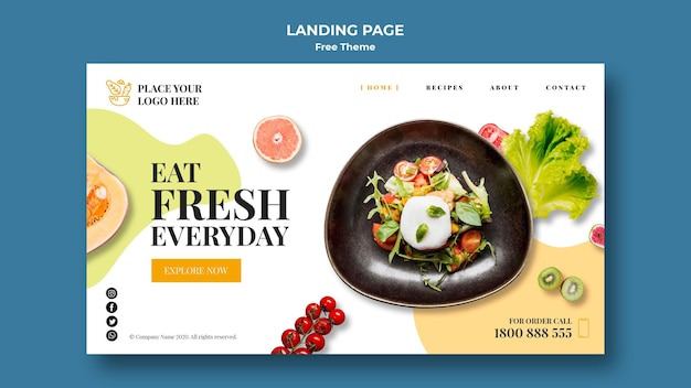 Healthy food landing page Free Psd