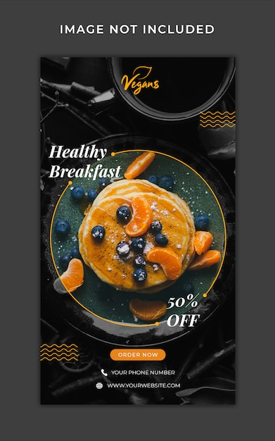 Healthy food menu promotion instagram stories banner template Premium Psd