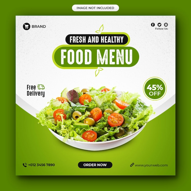 Healthy food and menu restaurant social media post Premium Psd