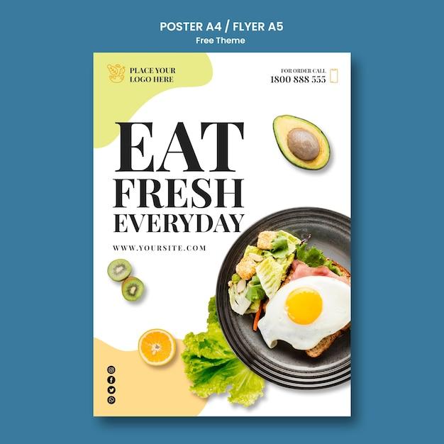 健康食品ポスターテンプレートコンセプト 無料 Psd
