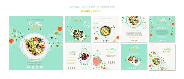 Healthy food posts template Free Psd