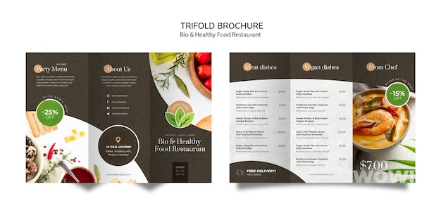 Healthy food restaurant brochure Free Psd