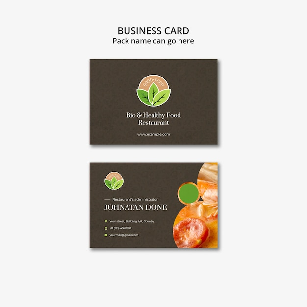 Healthy food restaurant business card template Free Psd