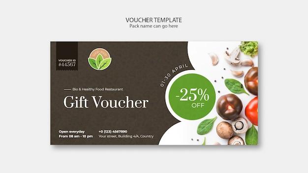 Healthy food restaurant voucher template Free Psd