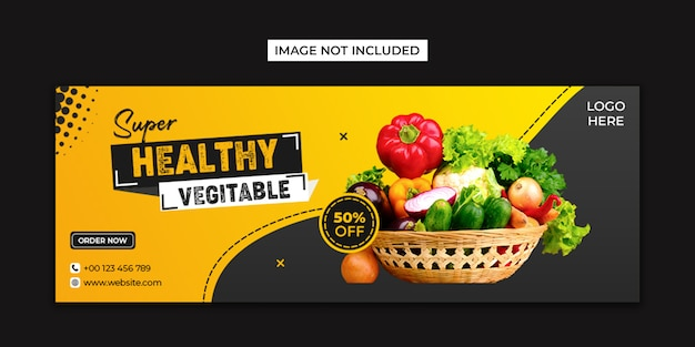Healthy food social media and facebook cover template Premium Psd