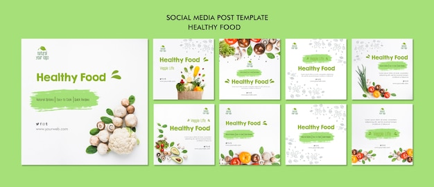 Healthy food social media post template Free Psd