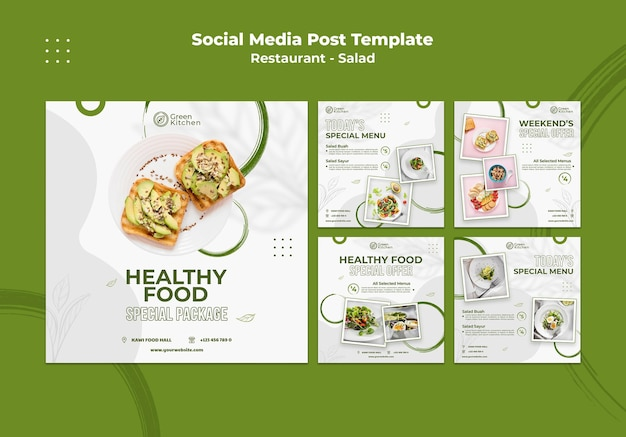 Healthy food social media post Free Psd