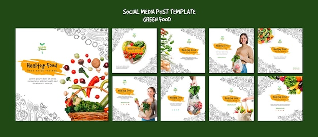 Healthy food social media posts template with picture Free Psd