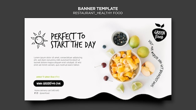 Banner modello di cibo sano Psd Gratuite