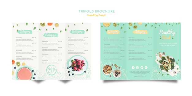 Healthy food trifold brochure Free Psd