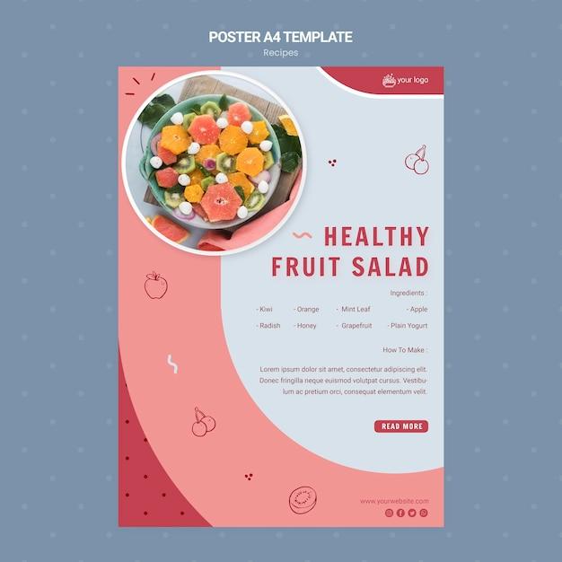 ヘルシーなフルーツサラダのポスターテンプレート 無料 Psd