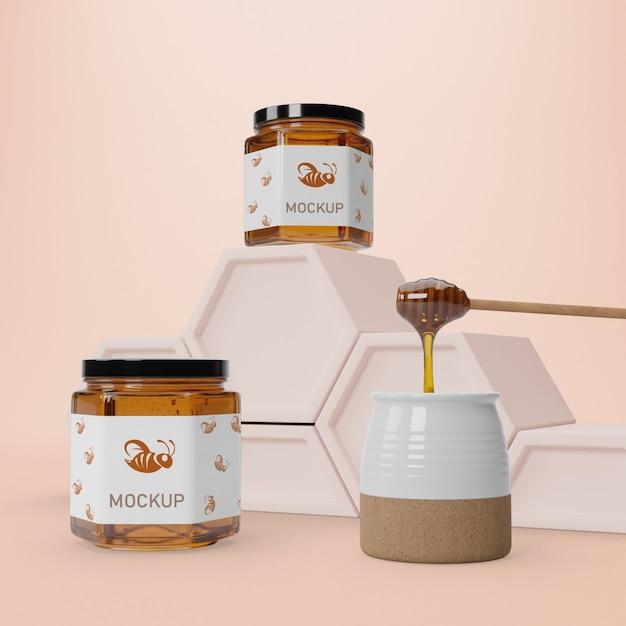 Healthy honey in jars Free Psd