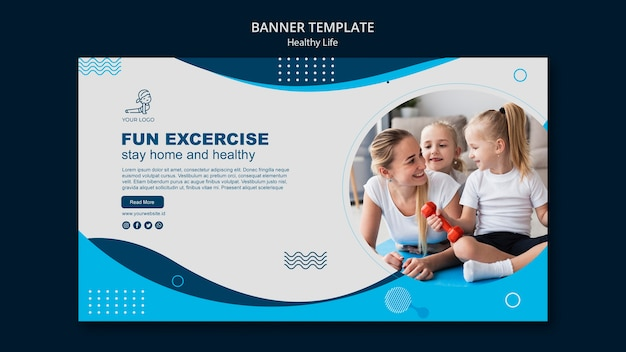 Healthy life concept banner design Free Psd