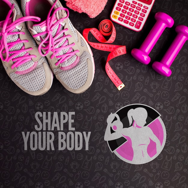 Healthy lifestyle fitness sport equipment Free Psd