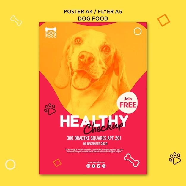 Modello di poster annuncio di cibo sano piccolo cucciolo Psd Gratuite