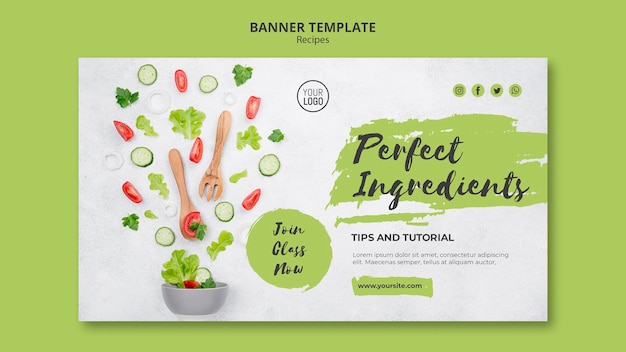 Healthy recipes ad banner template Free Psd