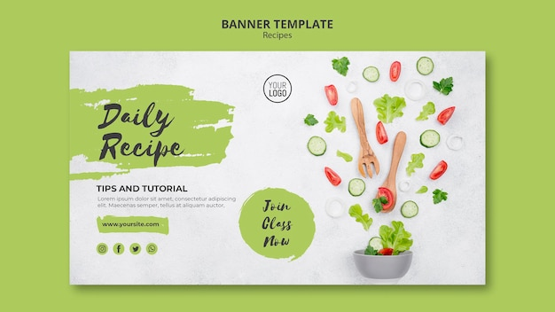 Healthy recipes banner template Free Psd