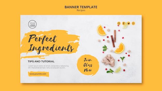 Modello di banner di ricette sane Psd Gratuite