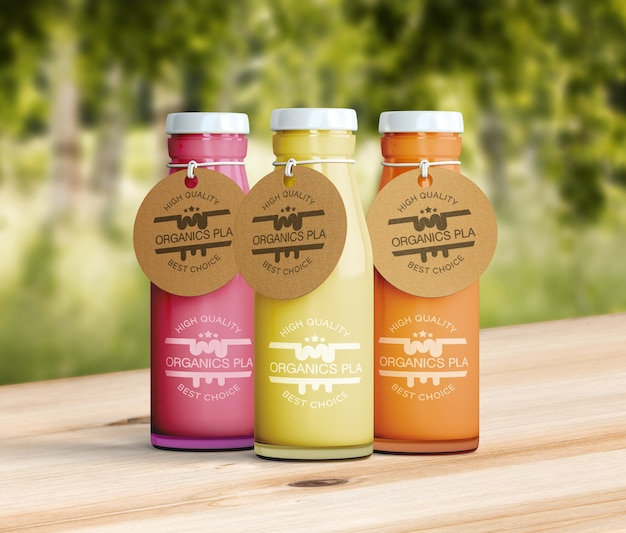 Healthy smoothies on wooden table mock-up Free Psd