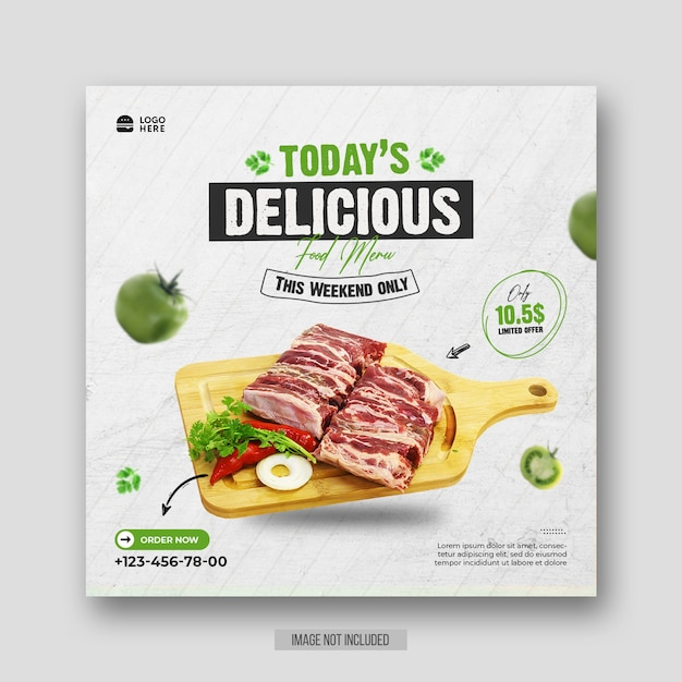 Healthy special food menu promotion social media flyer or instagram post template Premium Psd
