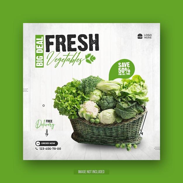 건강한 특별 음식 메뉴 홍보 소셜 미디어 전단지 또는 Instagram 게시물 템플릿 프리미엄 PSD 파일
