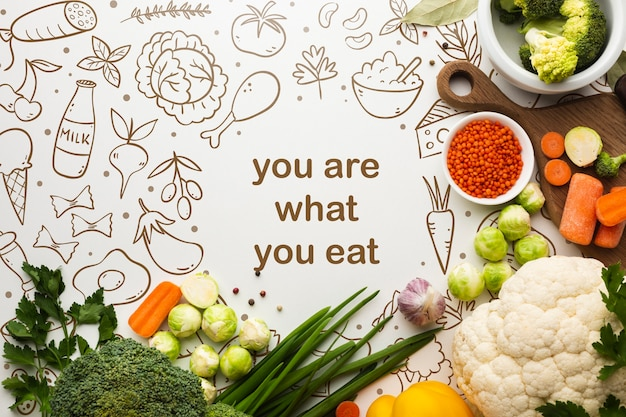 Healthy vegetables with positive message Free Psd