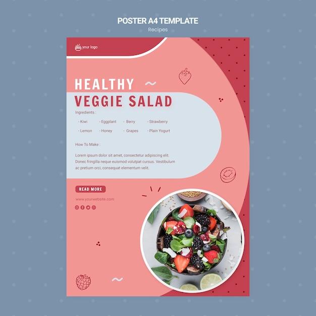 ヘルシーな野菜サラダポスターテンプレート 無料 Psd
