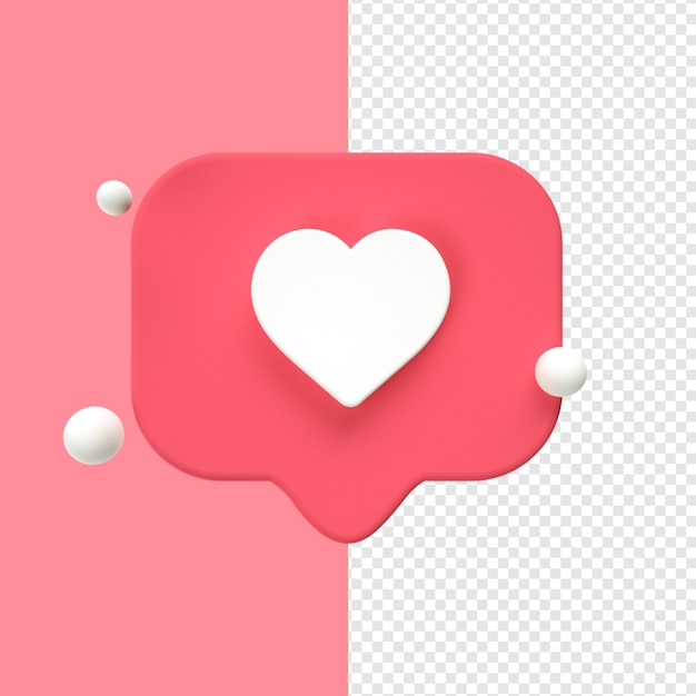 Heart icon transparent 3d Premium Psd